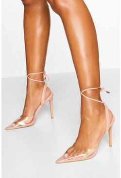 Pointed Clear Ankle Wrap Courts, Nude