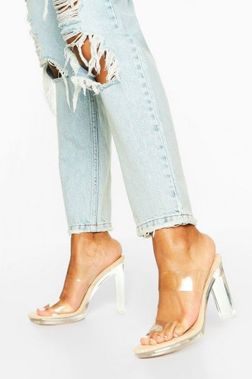 Nude Double Clear Strap Platform Mules