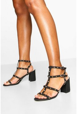 Studded Cage Block Heel Sandals, Black