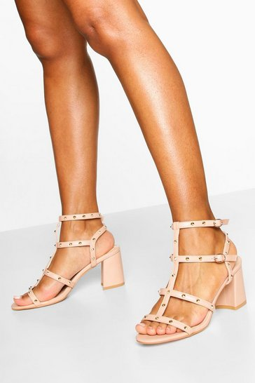 Nude Studded Cage Block Heel Sandals