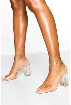 Nude Clear Block Heel 2 Parts