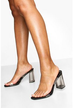 Clear Block Heel Mules, Black