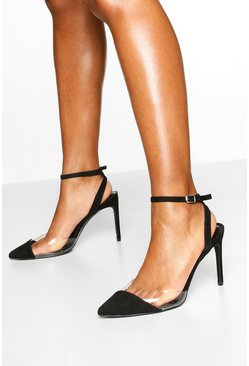 Clear Panel Pointed Heel Courts, Black