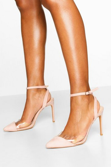Nude Clear Panel Pointed Heel Courts