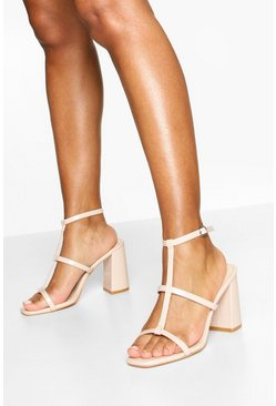 Caged Square Toe Block Heels, Nude