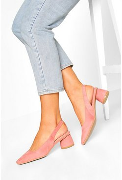 Square Toe Block Heel Ballets, Blush