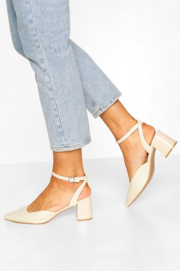 Cream Ankle Strap Block Heel Ballets