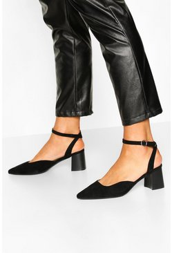 Ankle Strap Block Heel Ballets, Black