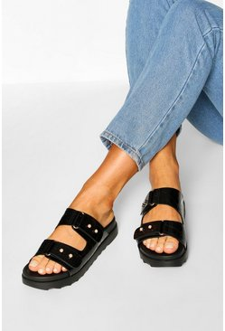 Black Croc Foot Bed Sliders