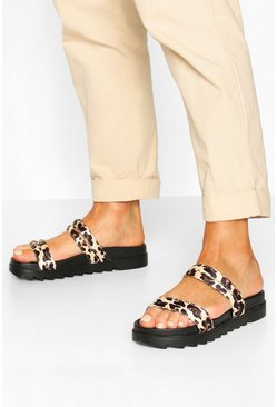 Double Strap Foot Bed Sliders, Leopard