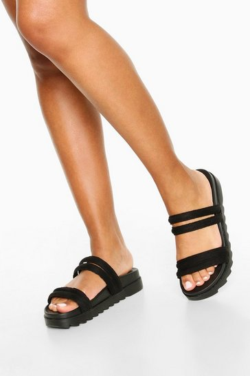 Black Double Strap Foot Bed Sliders