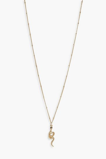 Gold Diamante Snake Pendant Necklace