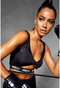 Black Fit Twist Front Slogan Sports Bra