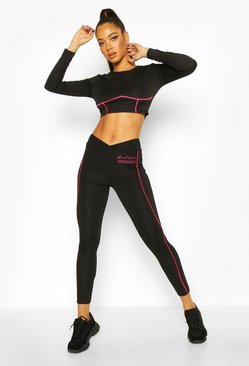 Fit Woman Contrast Stitch Gym Leggings, Black