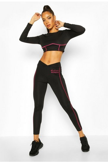 Black Fit Woman Contrast Stitch Gym Leggings