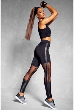 Fit Booty Boost Mesh Insert Gym Leggings, Black