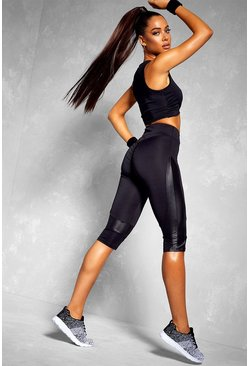 Black Fit Booty Boost Wet Look Panel Gym Capri Leggings