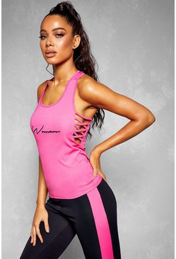 Fit Woman Lattice Detail Gym Vest, Pink