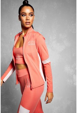 Coral Fit Woman Contrast Zip Up Gym Top