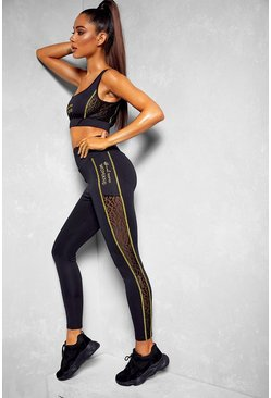 Black Fit Woman Contour Stitch Gym Leggings