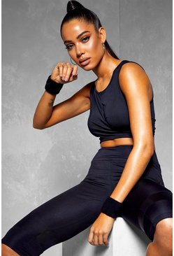Fit Wrap Over Sports Bra, Black, DAMEN