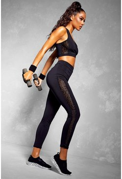 Fit Leopard Mesh Bra & Legging Set, Black