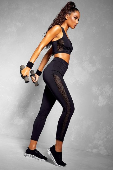 Black Fit Leopard Mesh Bra & Legging Set
