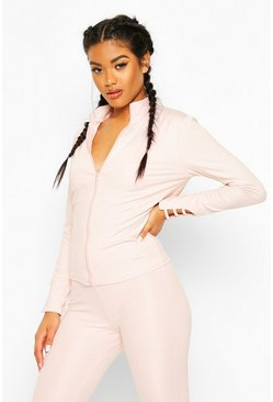 Pink Fit Ladder Sleeve Gym Jacket