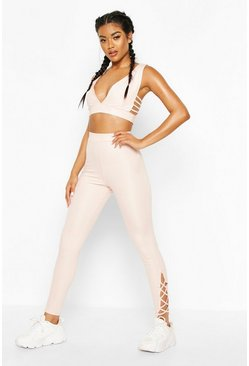 Fit Ladder Hem Gym Leggings, Pink
