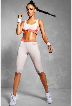 Fit Woman Sports Bra Cycling Shorts Set, Pink
