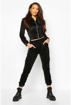 Black Velour Cargo Pant With Drawcord Waist And Pocket