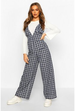Womens Black Check Pinafore Jumpsuit