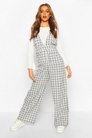 Ivory Check Pinafore Jumpsuit