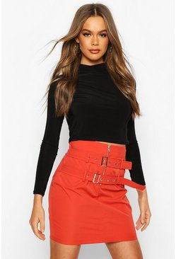 Red Double Belted Mini Skirt