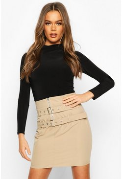 Stone Double Belted Mini Skirt