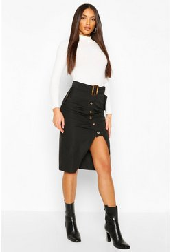 Buckle Pleat Button Midi Skirt, Black, DAMEN