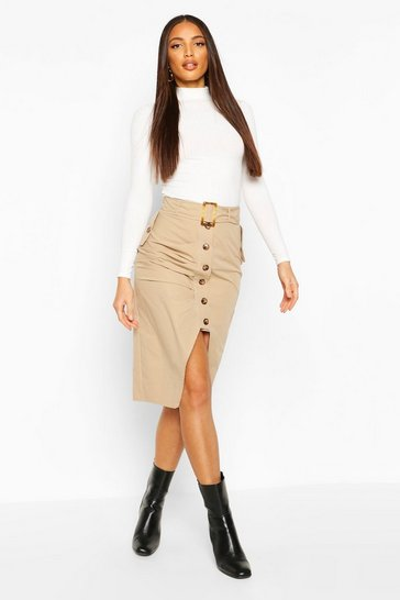 Stone Buckle Pleat Button Midi Skirt