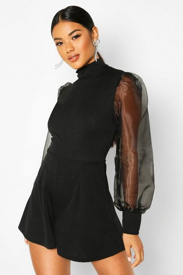 Black Organza Puff Sleeve High Neck Playsuit