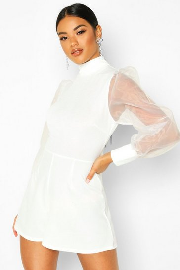 Ivory Organza Puff Sleeve High Neck Playsuit