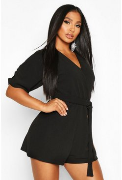 Womens Black Ruched Shoulder Tie Waist Playsuit