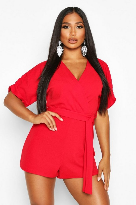 Red Ruched Shoulder Tie Waist Playsuit