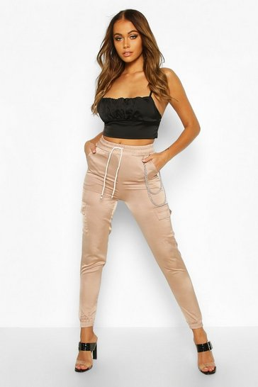 Womens Beige Satin Luxe Utility Joggers