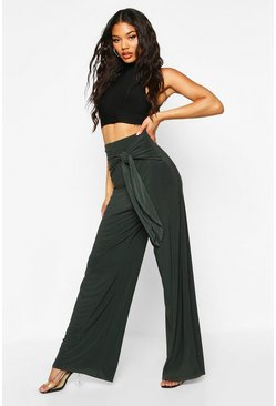 Womens Bottle Drape Tie Wide Leg Trouser