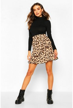 Leopard Tiered Mini Skirt, Tan, DAMEN
