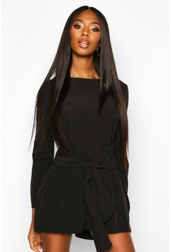 Womens Black Tie Front Long Sleeve Playsuit