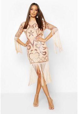 Open Back Fringed All Over Sequin Dress, Rose gold, FEMMES