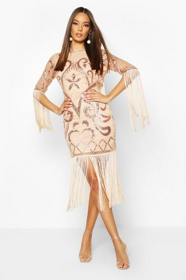 Womens Rose gold Open Back Fringed All Over Sequin Dress