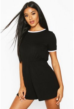 Black Ringer Playsuit