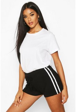 Womens Black Sports Stripe Runner Short