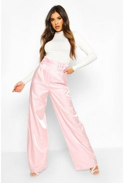 Double Buckle Metallic Wide Leg Trouser, Pink, FEMMES
